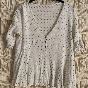 Zara polka dot short sleeve blouse!!